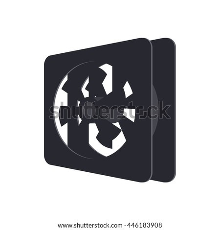 Computer case cooling fan icon in cartoon style on a white background