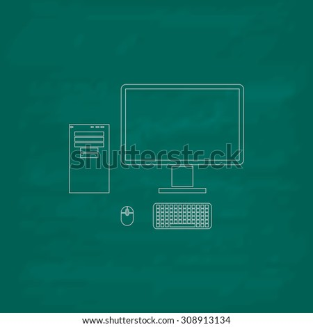 Computer case with monitor, keyboard and mouse. Outline vector icon. Imitation draw with white chalk on green chalkboard. Flat Pictogram and School board background. Illustration symbol - stock vector