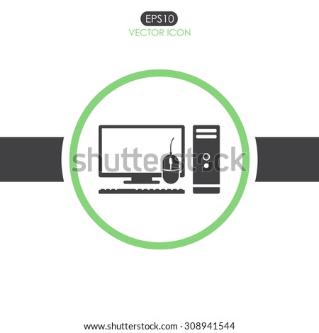 Computer case with monitor, keyboard and mouse, vector icon. - stock vector