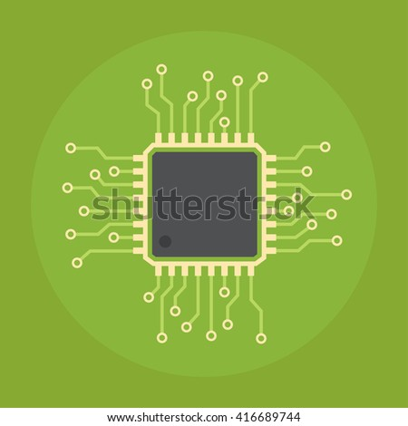 Computer chip vector flat icon. Icon computer chip isolated on a colored background. Design of computer chip with a network circuit.  - stock vector
