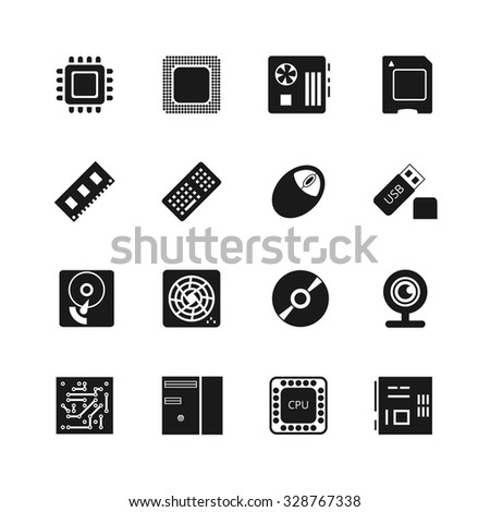 Computer chips vector icons set. Cooler and cpu, webcam and mouse, flash drive and motherboard illustration - stock vector