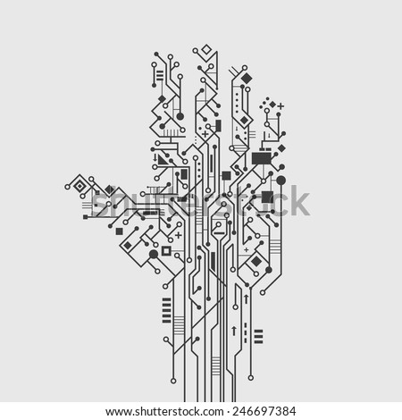 Computer circuit board in hand shape creative technology poster vector illustration - stock vector