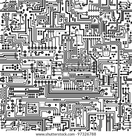 Computer circuit board pattern - vector seamless texture - stock vector