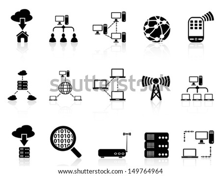 computer communication icons set - stock vector