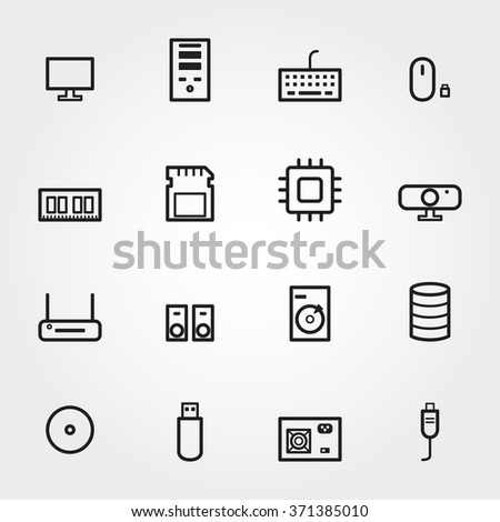 Computer component icons - stock vector