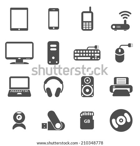 computer components and gadget icon set, each icon is a single object (compound path), vector eps10 - stock vector
