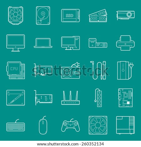Computer components and peripherals thin lines icons set graphic illustration design - stock vector