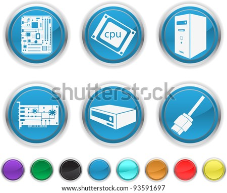 computer components,each color icon is set on a different layer - stock vector