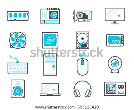 Computer components icon set: processor, motherboard, RAM, video card, hdd,ssd, sshd, power unit, cooler - stock vector