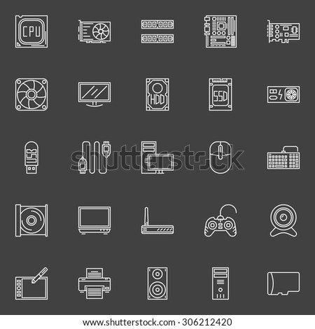 Computer components icons - vector collection of PC symbols of CPU, RAM, Motherboard, HDD, SSD, Printer, Speaker and other computer accessories - stock vector