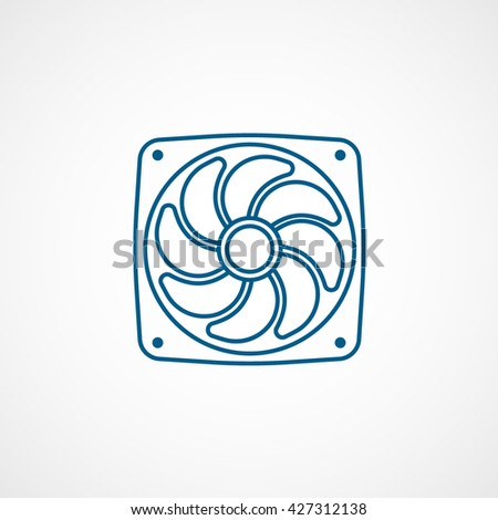 Computer Cooling Fan Blue Icon On White Background - stock vector