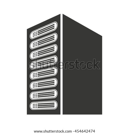 computer cpu server icon vector isolated graphic - stock vector