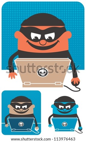 Computer Crime: Criminal using computer to commit crime. The illustration is in 3 versions. No transparency and gradients used.