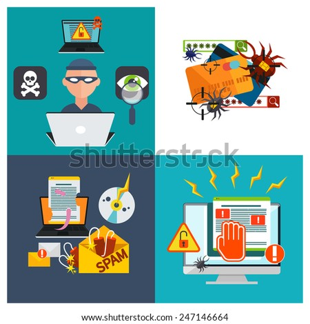 Computer crime in flat design concept. Criminal using computer to commit crime. Hacker activity viruses hacking and e-mail spam - stock vector