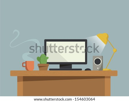 Computer desk - stock vector