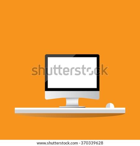 Computer desk, Flat design modern vector illustration. - stock vector