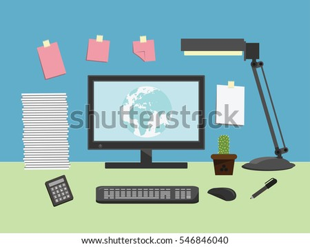 Computer desk, workplace. vector illustration.