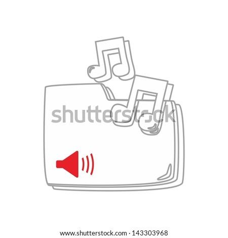 computer desktop element icon my music - stock vector