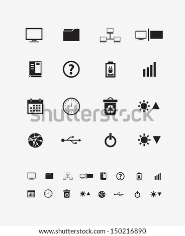 computer desktop icons - stock vector