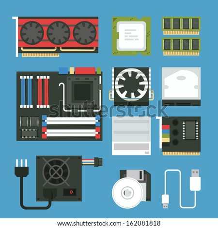 computer device icon set - stock vector