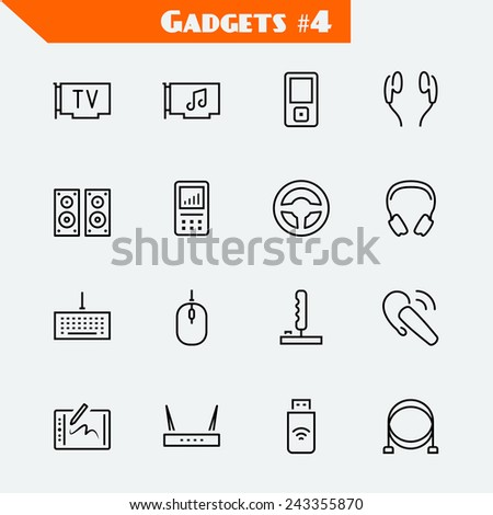 Computer devices and gadgets icon set: TV tuner, audio card, mp4 player, headphones, audio system, recorder, game wheel, keyboard, mouse, joystick, headset, graphics tablet, router, usb modem, cables - stock vector