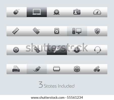 Computer & Devices // Classic Series +++ It includes 3 buttons states in different layers. +++ - stock vector