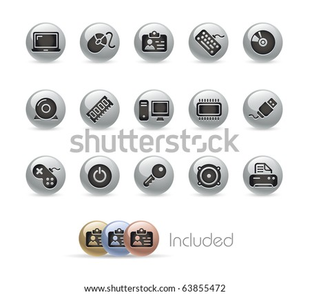 Computer & Devices // Metal Round Series --- It includes 4 color versions for each icon in different layers--- - stock vector