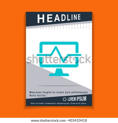 computer diagnostics icon, flyers brochure Vector Layout template, size A4 - stock vector