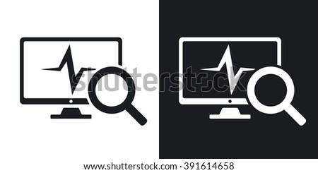 Computer diagnostics icon, vector. Two-tone version on black and white background