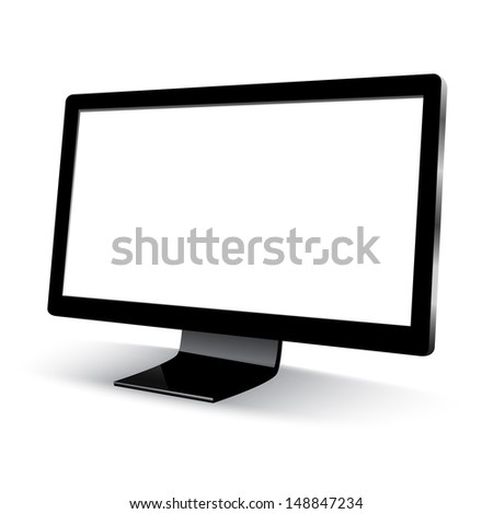 Computer display, 3d computer monitor with a blank screen isolated on white background  - stock vector
