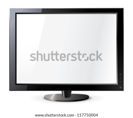 Computer display isolated on white. Frontal view. Vector illustration - stock vector