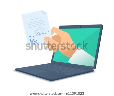 Computer, doctor's hand holding rx. Medic through the laptop screen giving the prescription to patient. Tele, online, remote medicine concept. Vector flat isolated illustration on white background.