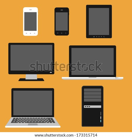 computer, electronic device. colorful laptop, tablet, computer and smart phone. flat design template elements for web and mobile applications - stock vector
