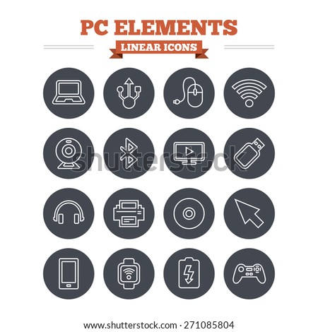 Computer elements linear icons set. Notebook, usb port and smartphone. Printer, smart watch and game console joystick. Bluetooth, flash stick and cursor pointer. Thin outline signs. Flat circle vector - stock vector