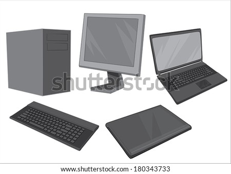 Computer equipment Collection - Illustration Vector illustration of computer equipment collection