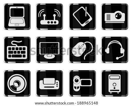 Computer equipment glass vector icons