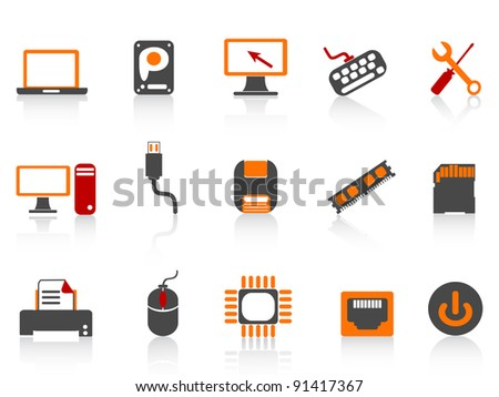 computer equipment icon color series - stock vector