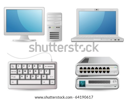 Computer equipment. Small office. PC, Laptop, Keyboard, Router and Switch.
