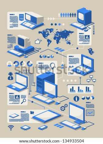 Computer evolution info graphic,vector background - stock vector