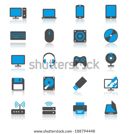 Computer flat with reflection icons - stock vector