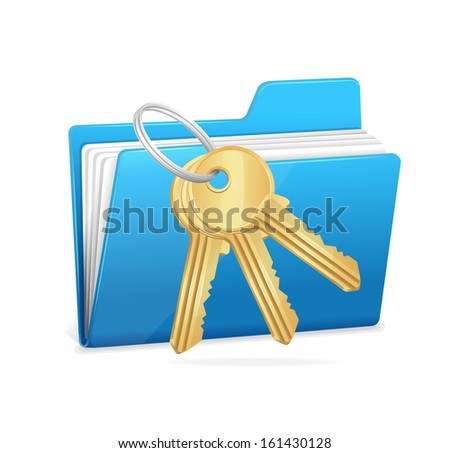 Computer folder and key. Data security concept. - stock vector