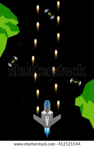 Computer game concept. Set of space arcade elements: spaceship, rocks, fuel cells, flames, lasers and more - stock vector