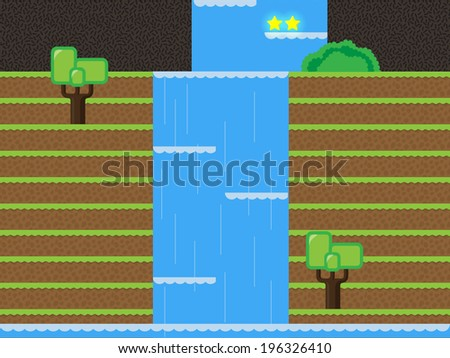Computer game level design, Waterfall, Forest - stock vector