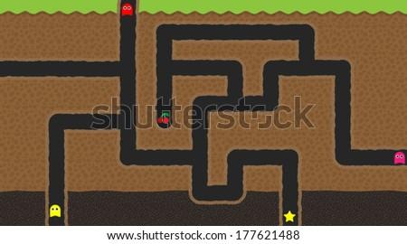 Computer game world - underground - stock vector