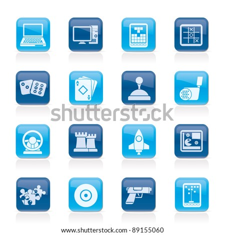 Computer Games tools and Icons - vector icon set - stock vector
