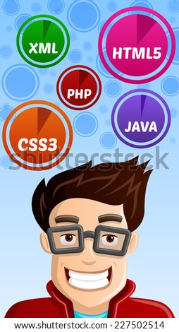 Computer Geek - Programmer with HTML5, CSS3, PHP, JAVA, XML icons hovering above him  - stock vector