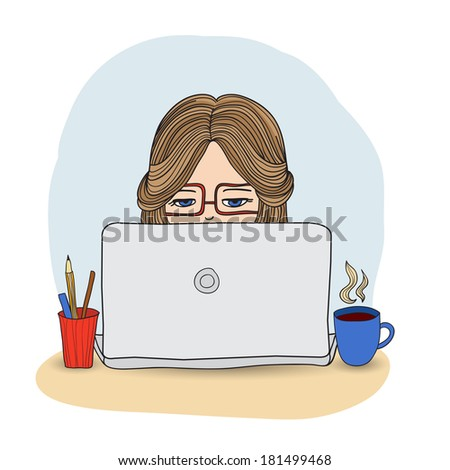 Computer girl with cup