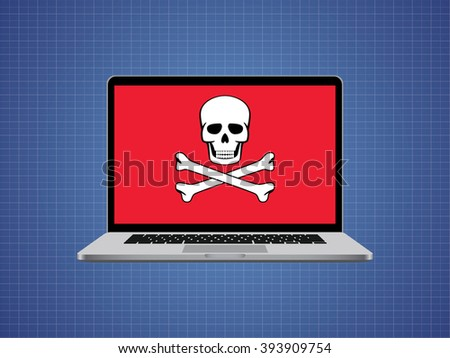 computer hacked with skull symbol and danger alert