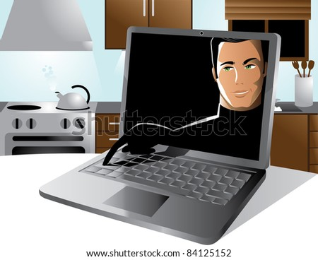 Computer hacker A hacker reaches out from the screen to type on someone's keyboard. EPS 8 vector, cleanly built with no open shapes or strokes. Grouped for easy editing. - stock vector