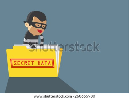 computer hacker hacking robbery secret data in yellow folder cyber way - stock vector